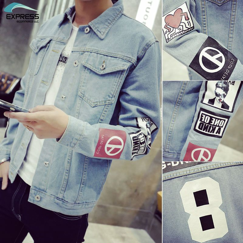 2018 Men's Denim Jacket high quality fashion Jeans Jackets Slim fit casual streetwear Vintage Mens jean clothing Plus Size M-5XL