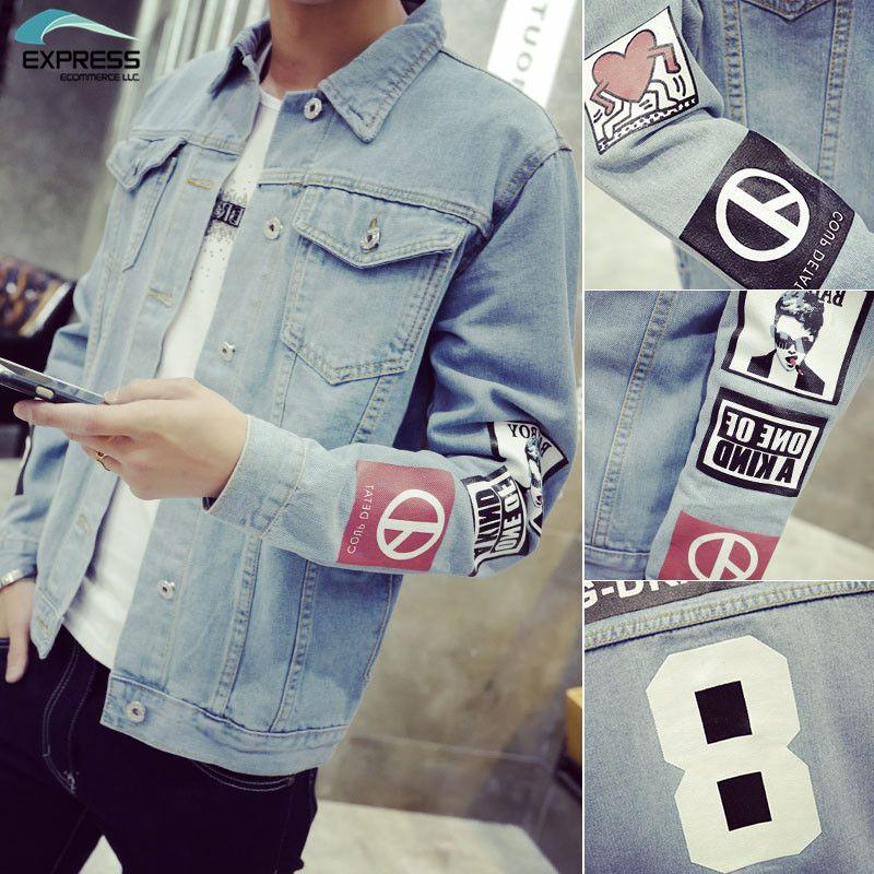 2018 Men's Denim Jacket high quality fashion Jeans Jackets Slim fit casual streetwear Vintage Mens jean clothing Plus Size M-5XL