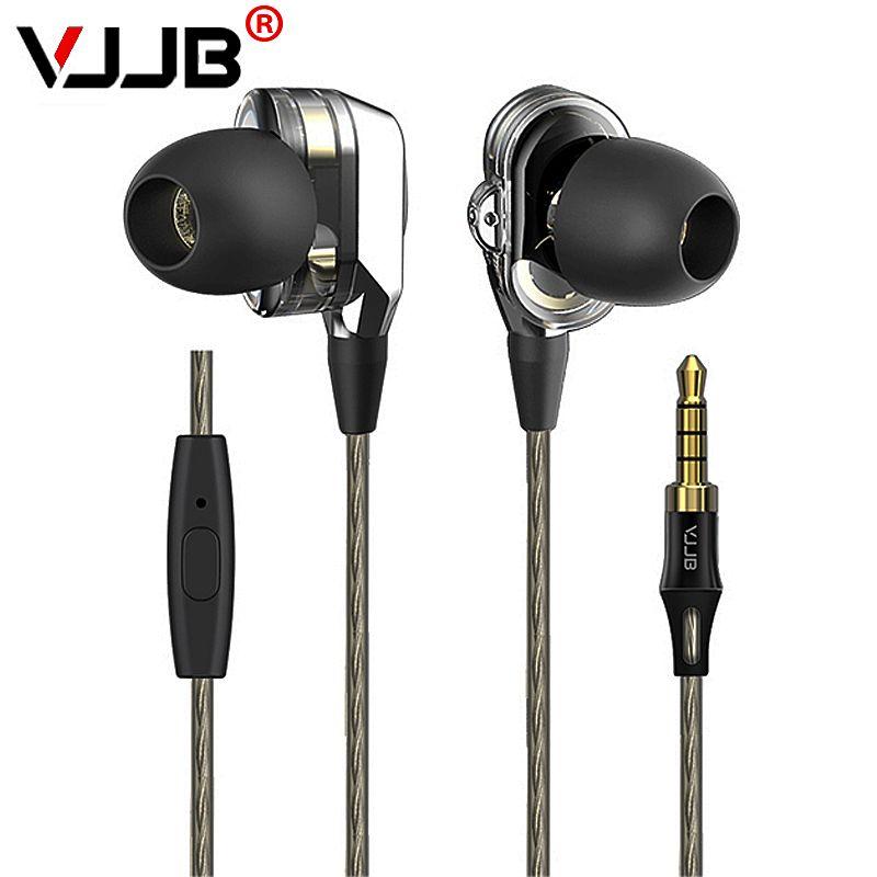 VJJB V1 & V1S écouteurs avec Microphone et boîte de vente au détail dans l'oreille casques de jeu isolation sonore basse stéréo