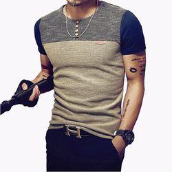 2018 D'été De Mode Hommes de T-shirt Occasionnel Patchwork À Manches Courtes hommes T-Shirt Vêtements Pour Hommes Casual Slim Fit Hip-Hop Top T-shirts 5XL