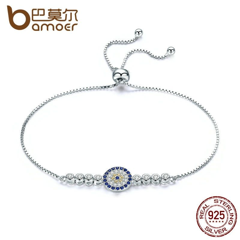 BAMOER 925 Sterling Silver Lucky Round Blue Eyes Power Tennis Bracelet Pave CZ Adjustable Link Chain Bracelets Jewelry SCB006