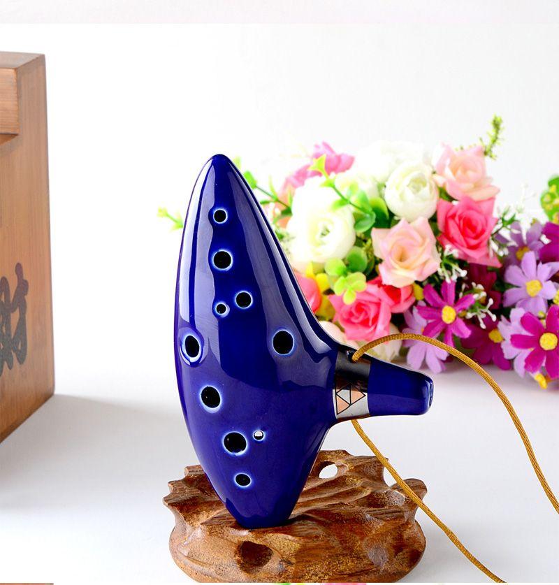Bleu 12 Trous Ocarina cuite au Four En Céramique Alto C Légende de Zelda Ocarina Flûte de Temps Jingdezhen livraison gratuite