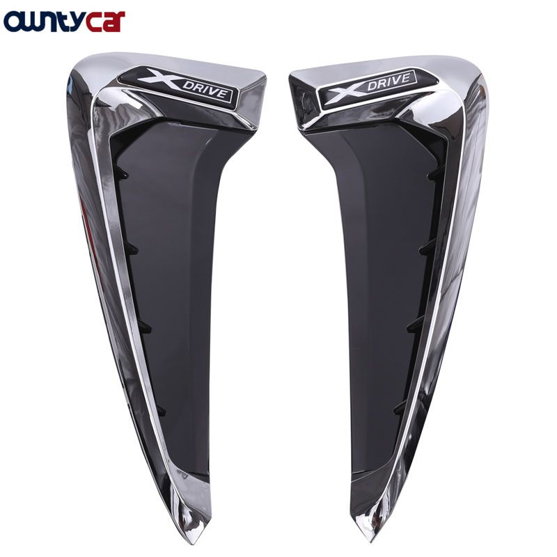 2Pcs/set ABS Car Front Fender Side Air Vent Cover Trim Car-styling For BMW X Series X5 F15 X5M F85 Shark Gills Side Vent Sticker