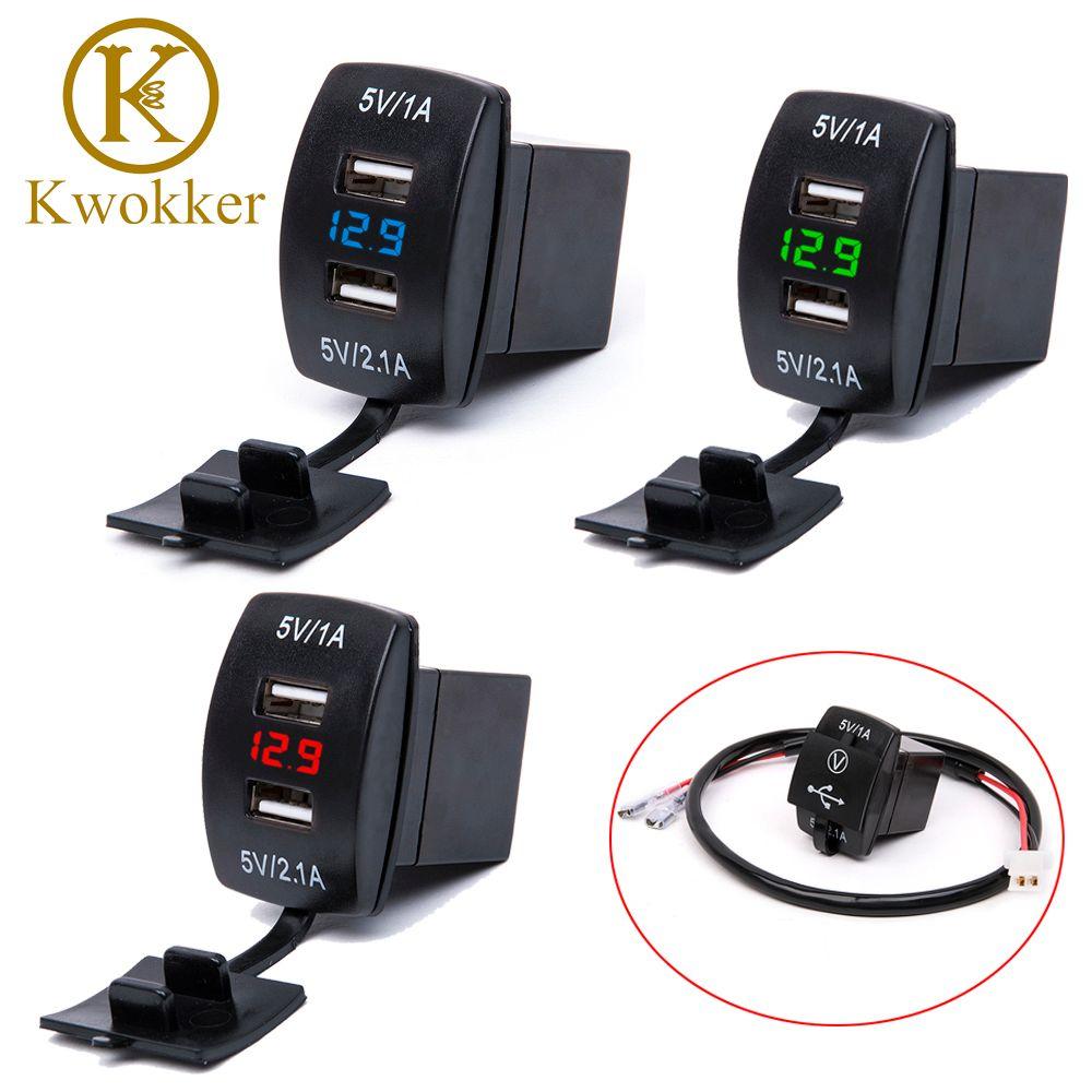 Étanche 12 v-24 v Mini Micro Dual USB Plug Voiture Moto Allume-cigare Socket Chargeur De Voiture + LED numérique Voltmètre Compteur
