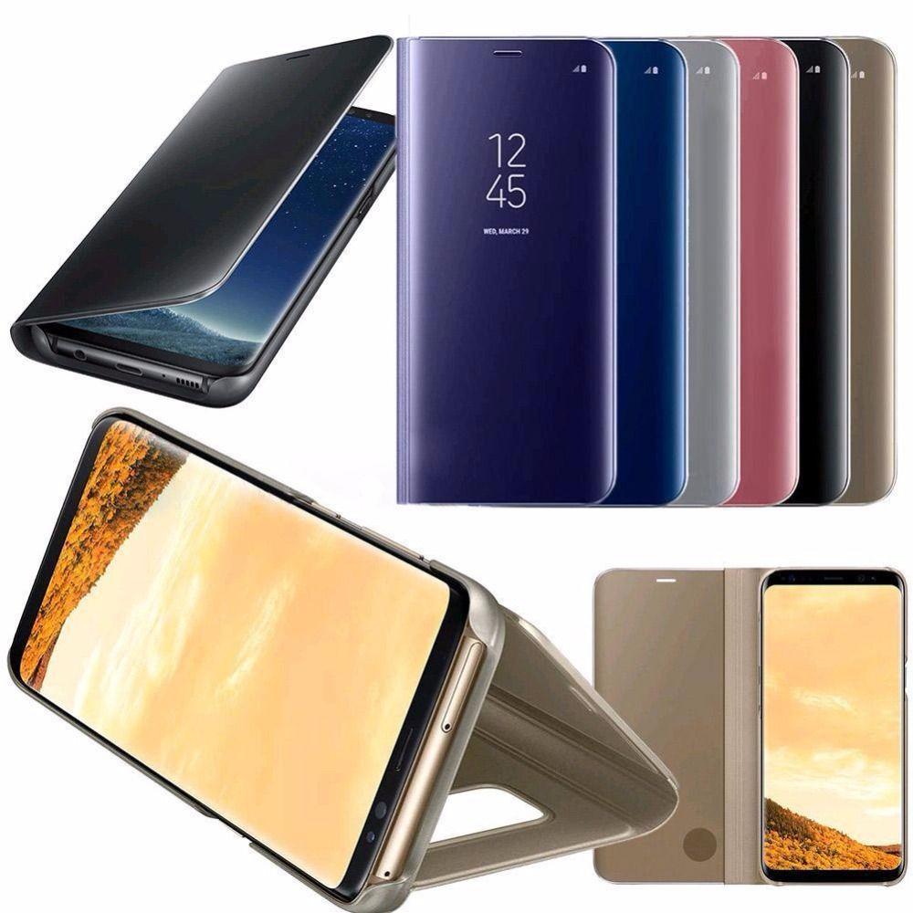 Зеркало Smart View Окно стойки кожи флип чехол для iPhone X 6 S Samsung Galaxy S8 S7 S6 Edge плюс Примечание 8 5 A3 A5 A7 случае