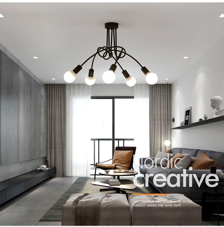 Heißer Vintage Industrielle Loft Kronleuchter Decke Lampe Mit 5 Lichter (Schwarz) leuchtmittel nicht enthalten