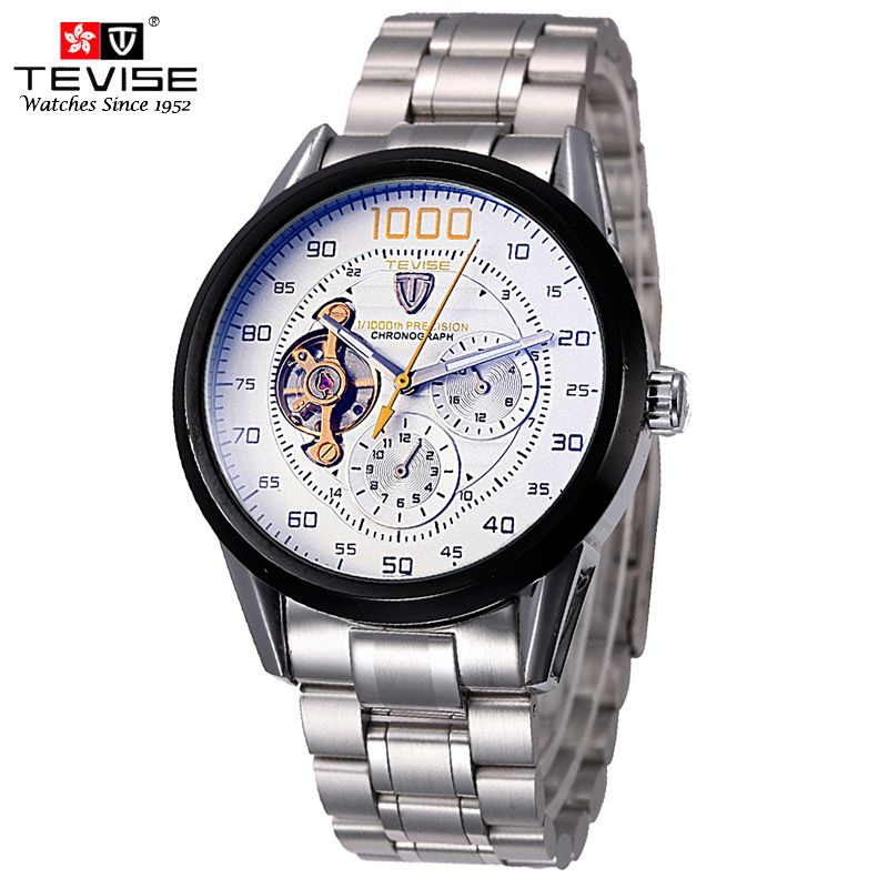 TEVISE Mens Watches Automatic Mechanical Watch Tourbillon Self-Wind Clock Stainless Steel Luxury Wristwatch Relojes Hombre 8378