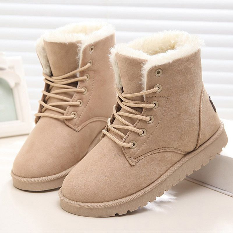 2017 Women Boots Winter Warm Plush Women Winter Boots  Fur Ankle Boots Women Shoes Flock Fashion Lace Up