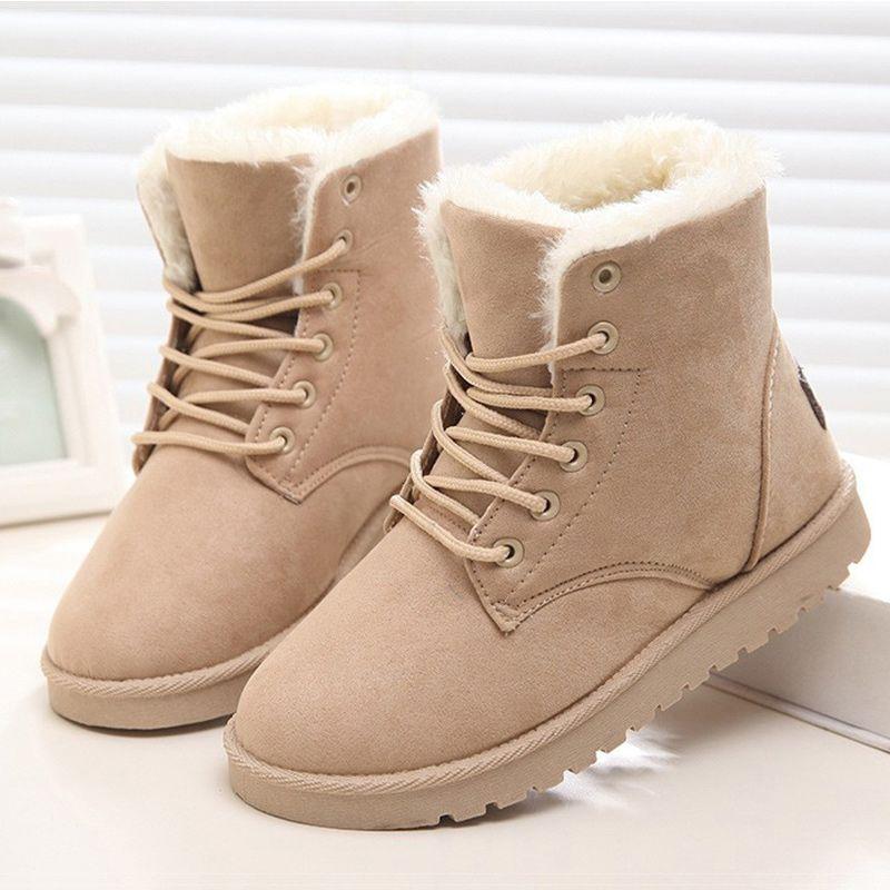 2017 Women Boots Winter Warm Plush Women Winter Boots  Fur Ankle Boots Women Shoes Flock Fashion Lace Up