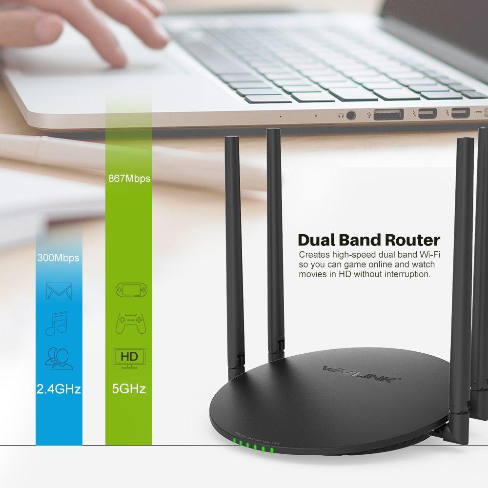 Wavlink 1200 Mbps Dual Band Wifi Routeur Intelligent Sans Fil WI-FI Routeur USB Port 2.4G/5G AC1200 4x5dBi externe Antennes App Contrôle