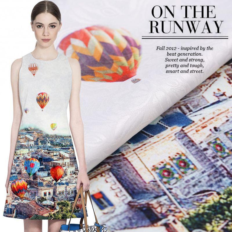 96*140 cm/pcs montgolfière France importé d'impression numérique de mode jacquard tissu pour robe tissu de l'ua compteur lumineux tissu BRICOLAGE
