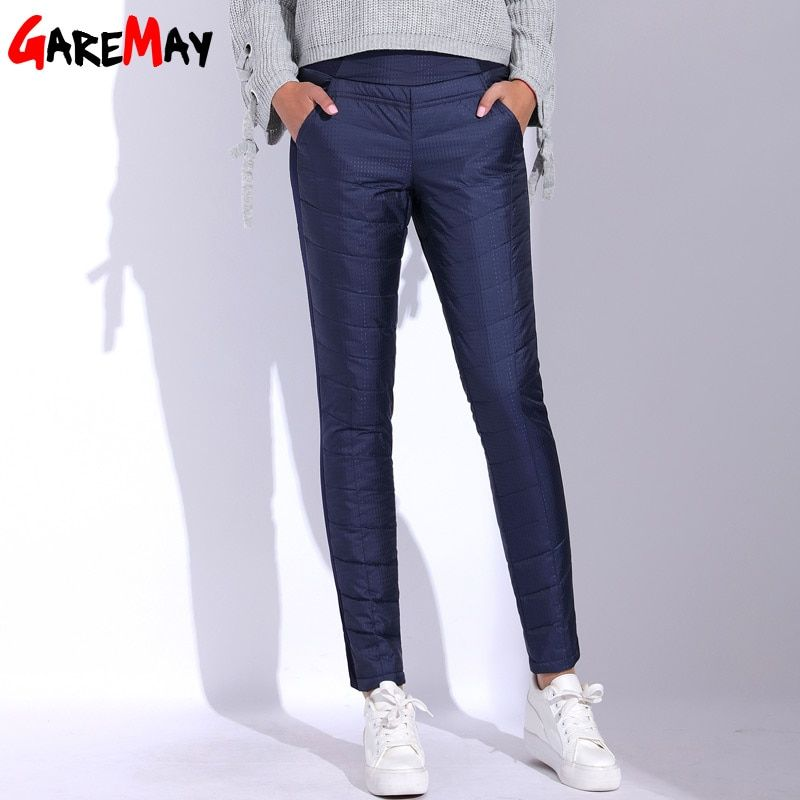 Winter Pant for Women 2017 High Waist Elastic Elegant Casual Down Pants Women's Warm Velvet Pencil Classic Pants GAREMAY