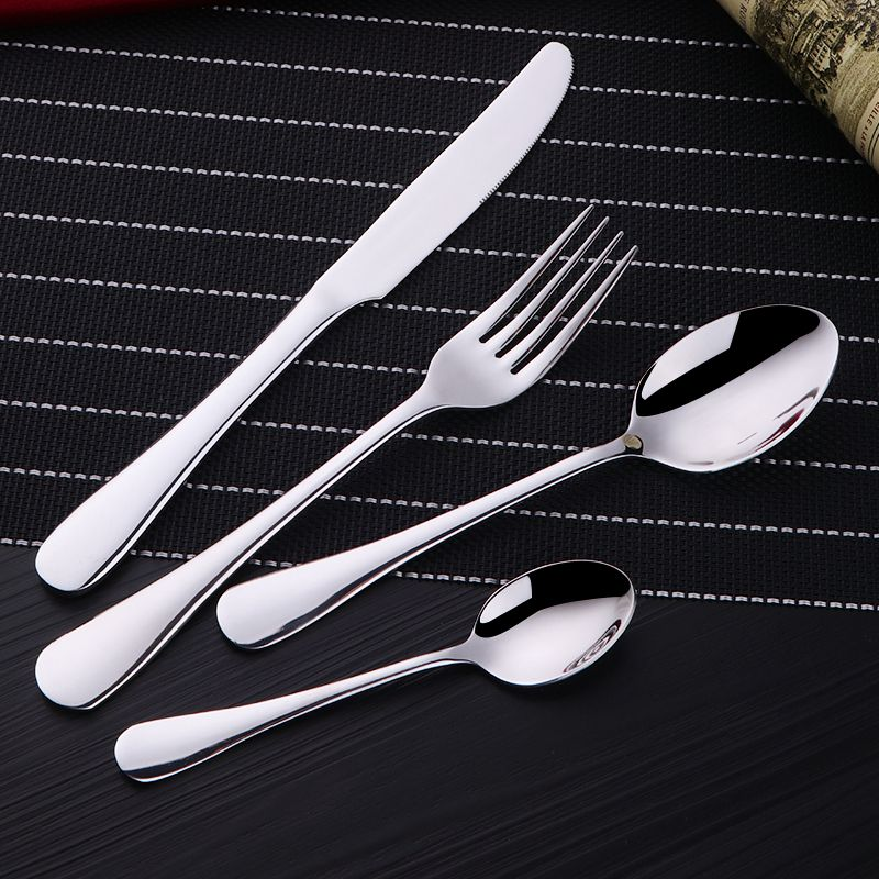 Wholesale 24Pcs/set Silver Cutlery Set Stainless Steel Dinnerware Tableware Silverware Sets Dinner Knife and Fork Drop Shipping