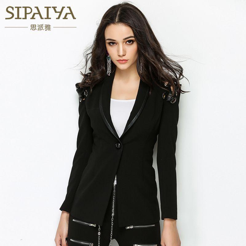 SIPAIYA High Quality New Fashion Ladies Blazer Womens 2017 High Street Style Womens Single Button Blazer Outerwear Coat