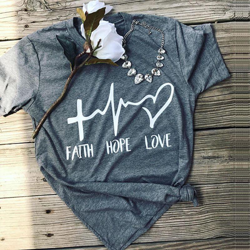 2019 foi espoir amour T-Shirt 90s femmes été à manches courtes T-Shirt col rond décontracté dames T-Shirt Valentine hauts grunge T-Shirt esthétique