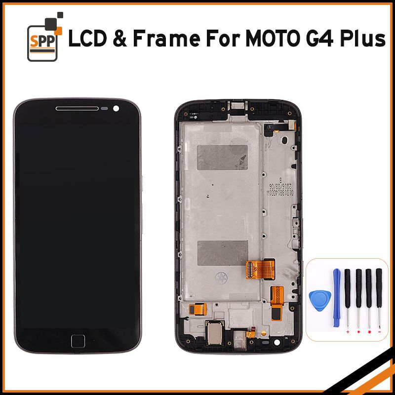 Original LCD For Motorola Moto G 4 G4 Plus LCD DIsplay + Touch Screen Digitizer Assembly With Frame Black +Tools