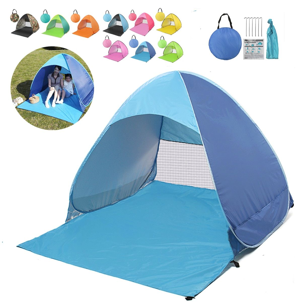 Portable PopUp Tents Outdoor Camping Folding Tent Beach Sun Shelter Tent Canopy Shelter Camping Fishing Picnic Anti-UV Sun Shade