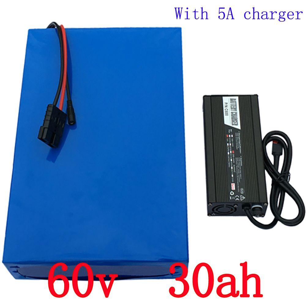 Hohe Kapazität 30Ah 60 V E-bike-akku Mit 5A Ladegerät Für 2000 Watt Motorleistung Lithium Elektrische Fahrrad batterie 60 V Freies Verschiffen