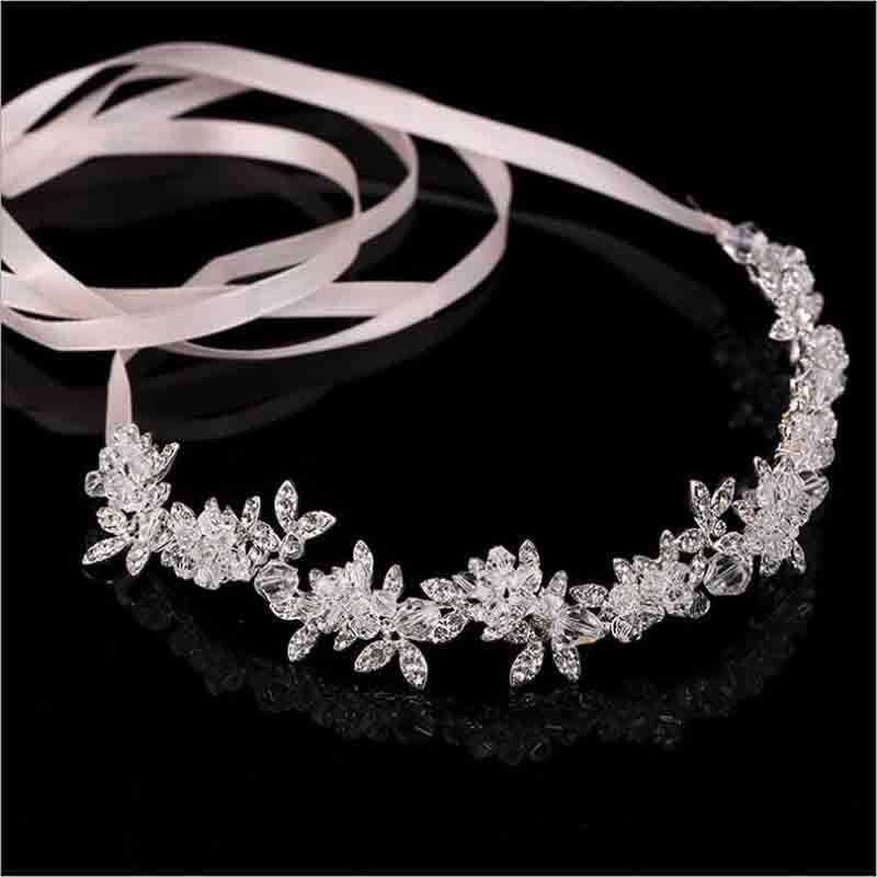 New Arrival Noble Crystal Rhinestone Bridal Headpieces Satin Ribbon Wedding Hair Accessories for Brides Tiaras Crowns Headbands