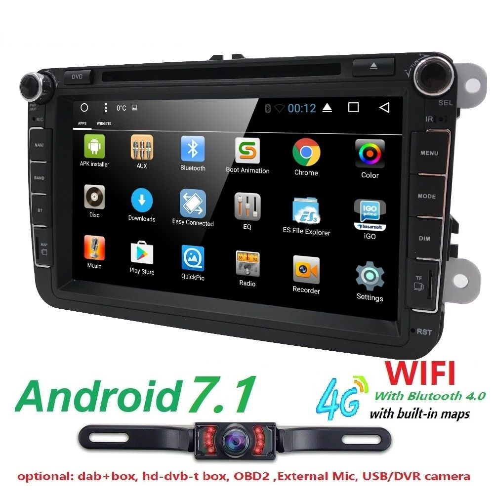 2 din Android 7.1 car multimedia player fit volkswagen vw skoda yeti golf polo passat b6 jetta touran gps radio SWC DAB WIFI 4G