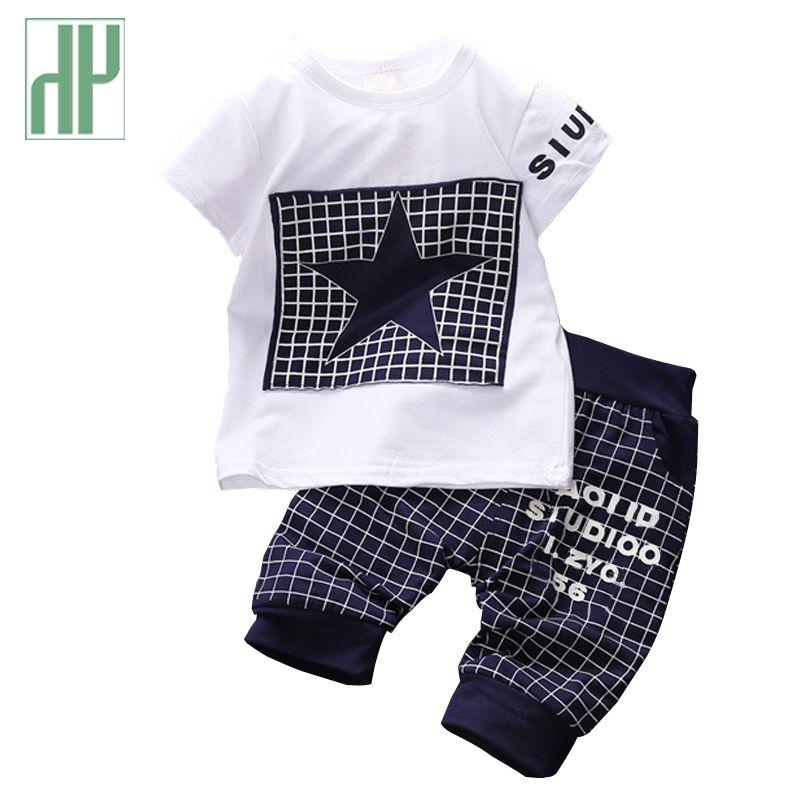 Nouveau-né bébé garçon vêtements étoile imprimé enfants vêtements ensemble été hauts + pantalon costume tenue minuscule cotons infantile vêtements sport costumes
