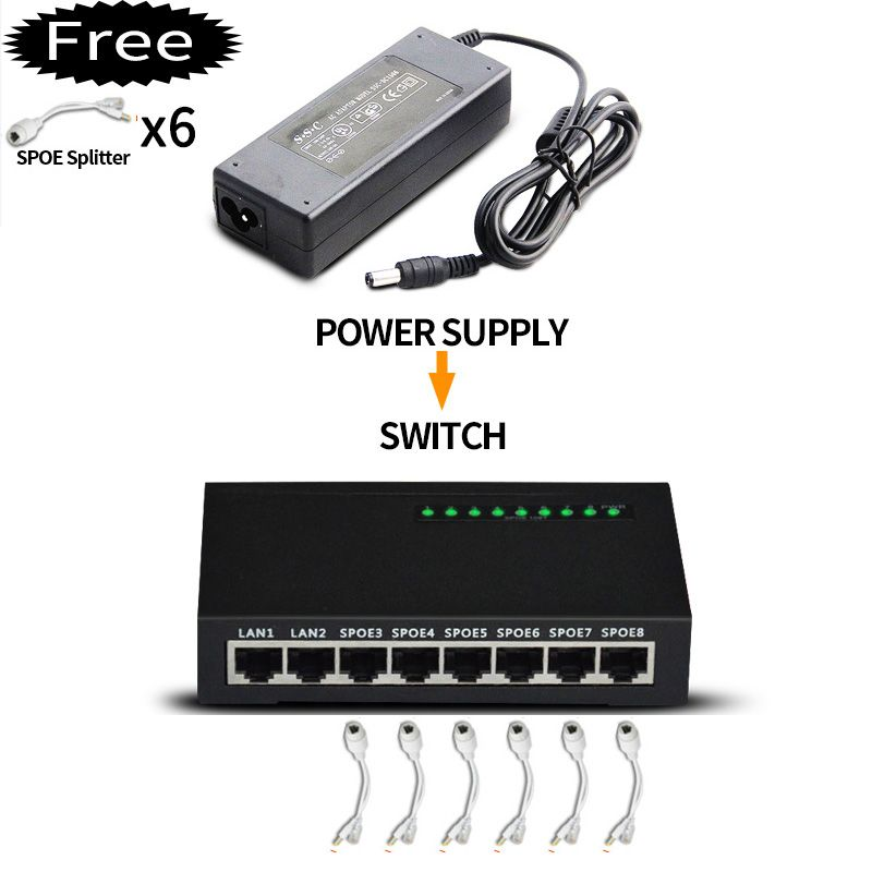 Metal case 8 port poe Switch For Ip Camera/Wireless AP and POE Network equipment connection/Ethernet Switch poe with Power 96W
