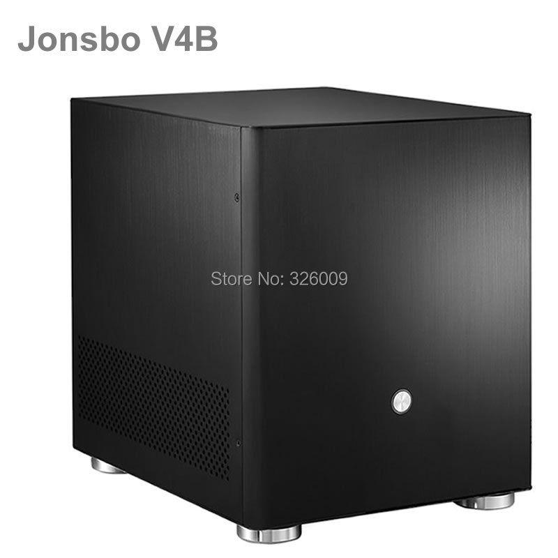 D'origine Jonsbo V4B V4 Noir, cas HTPC MATX avec Tout En Aluminium 1.5mm, 3.5 ''HDD, USB3.0 5 Gbps, PCI Slot, d'autres V2, V3 +, C2