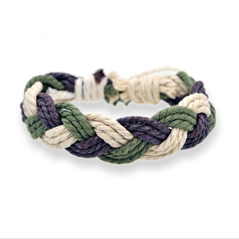 Beste verkauf hand-woven armbänder baumwolle und leinen geflochtenen seil farbe hand seil nationalen wind schmuck