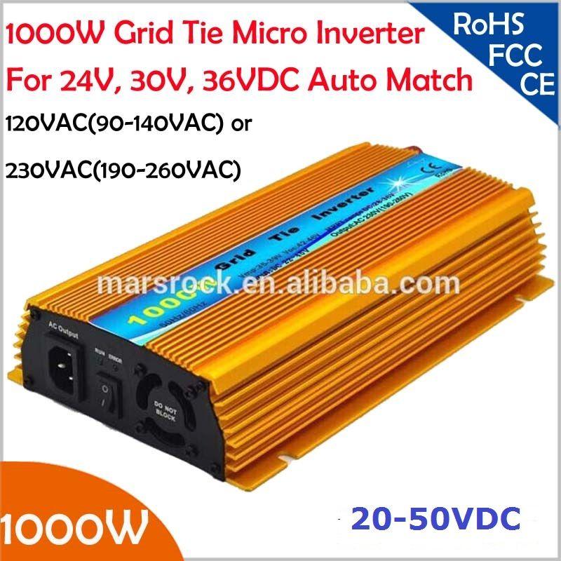 1000 Watt Grid tie mikroinverter, 20V-50VDC, 90 V-140 V oder 190V-260VAC, praktikabel für 1200 Watt, 24 V, 30 V, 36 V solarpanel oder wind system