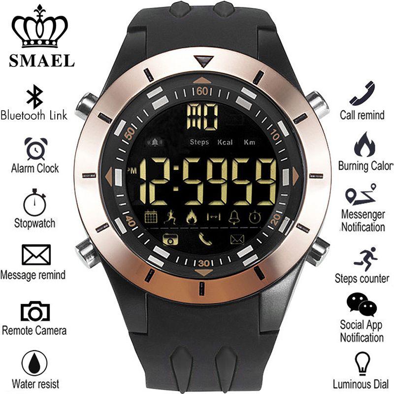 SMAEL New Men Smart Watch Pedometer Clock Fitness Bluetooth Phone Message Push Sports Healthy Waterproof Smartwatch Watches Male
