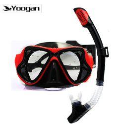 Yoogan Lensa Miopia Set Hitam Tempered Lensa Scuba Diving Masker Kering Snorkel Optik Menyelam Set untuk Rabun Jauh