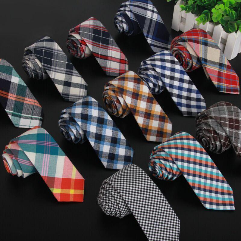 Shennaiwei высокого качества мужские клетчатые хлопок и ткань льняная ткань галстук 5.5 см тощий галстук бренд 2017 роскошный Gravata тонкий много