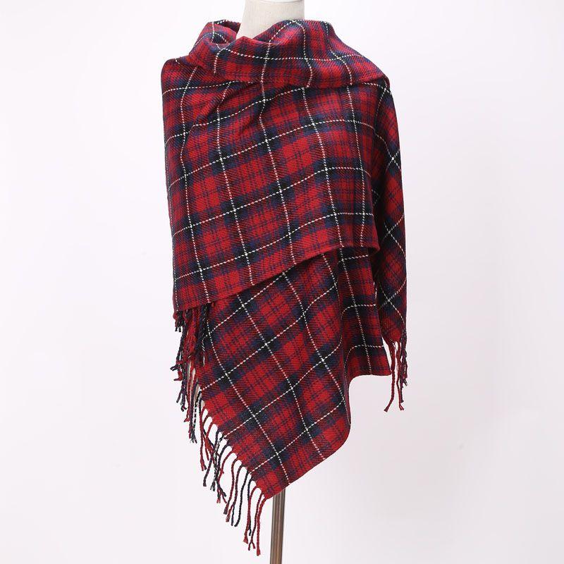 Écharpes de marque longs glands rouge Plaid cachemire tissé chaud Pashmina mode hiver châles pour femmes