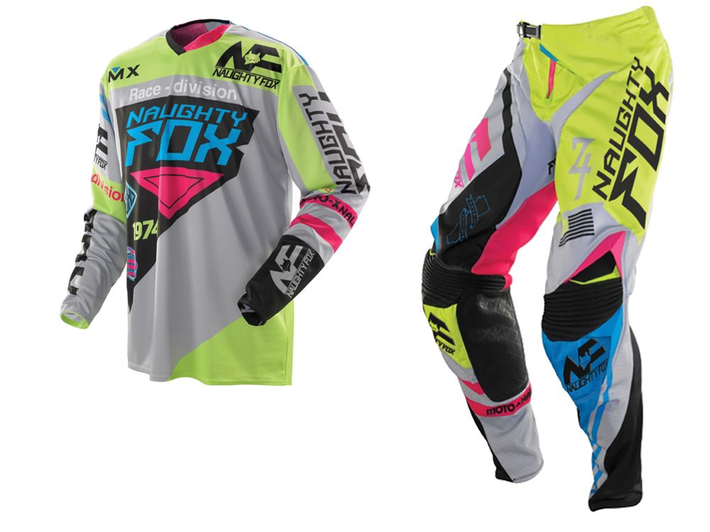 Free Shipping 2017 NAUGHTY 360 MX Gear Set Motocross ATV Dirt Bike Off-Road Race Gear Pant & Jersey Combo Green/Grey