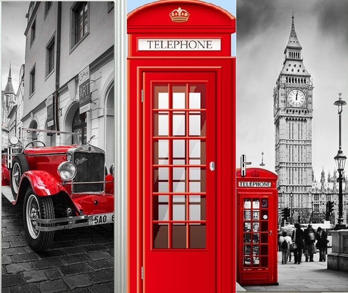 British style London Red Phone Booth Sports Car Big Ben Classic Door Sticker DIY Mural Home Decor Poster PVC Waterproof Sticker