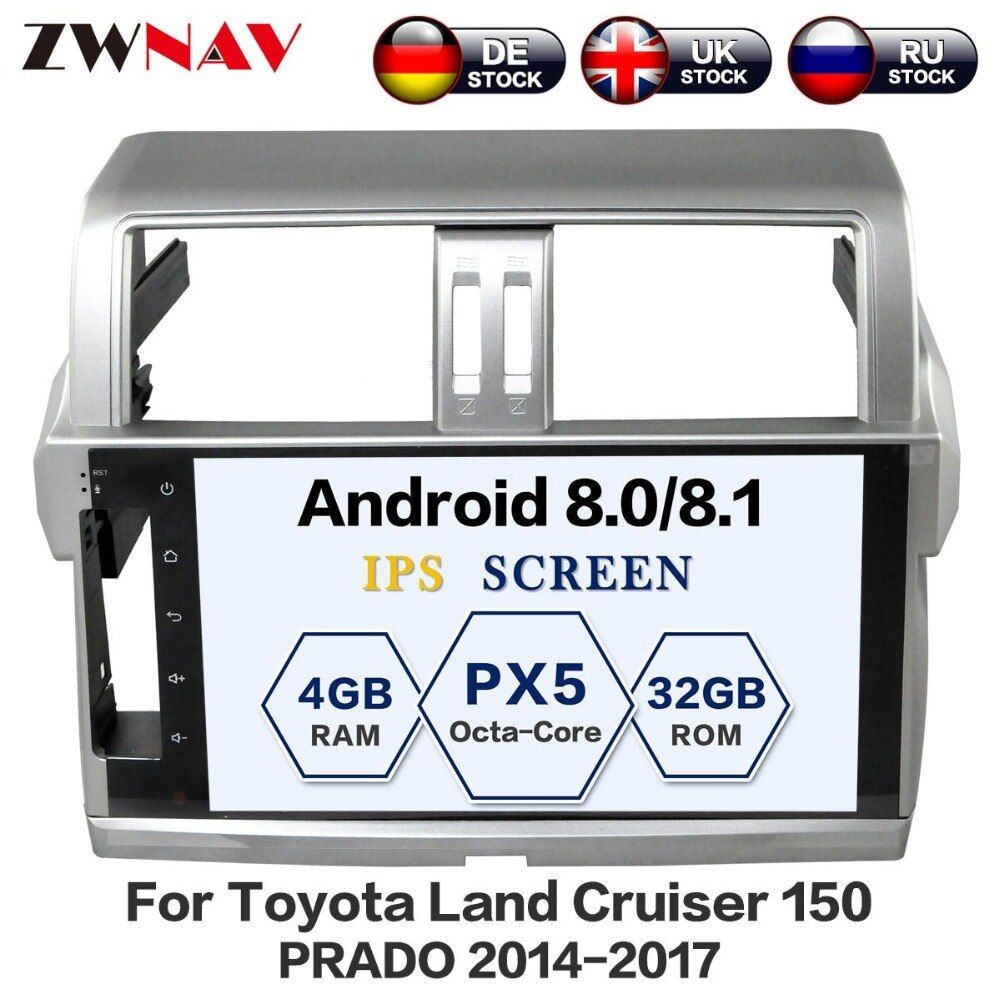 10.2 INCH Android 8.0 Car DVD GPS for Toyota Land Cruiser Prado 150 2014-2017 Head Unit with 4G Radio RDS Mirrior-Link Free Map