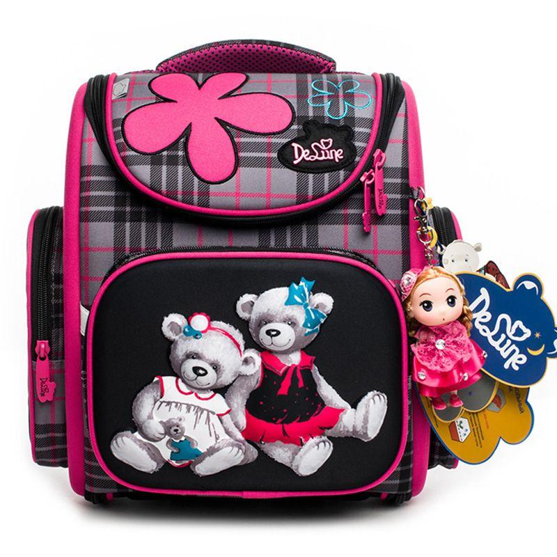 Delune 2018 New Cartoon School Bags Backpack for Girls Boys Bear Pattern Children Orthopedic Backpack Mochila Infantil Grade 1-5