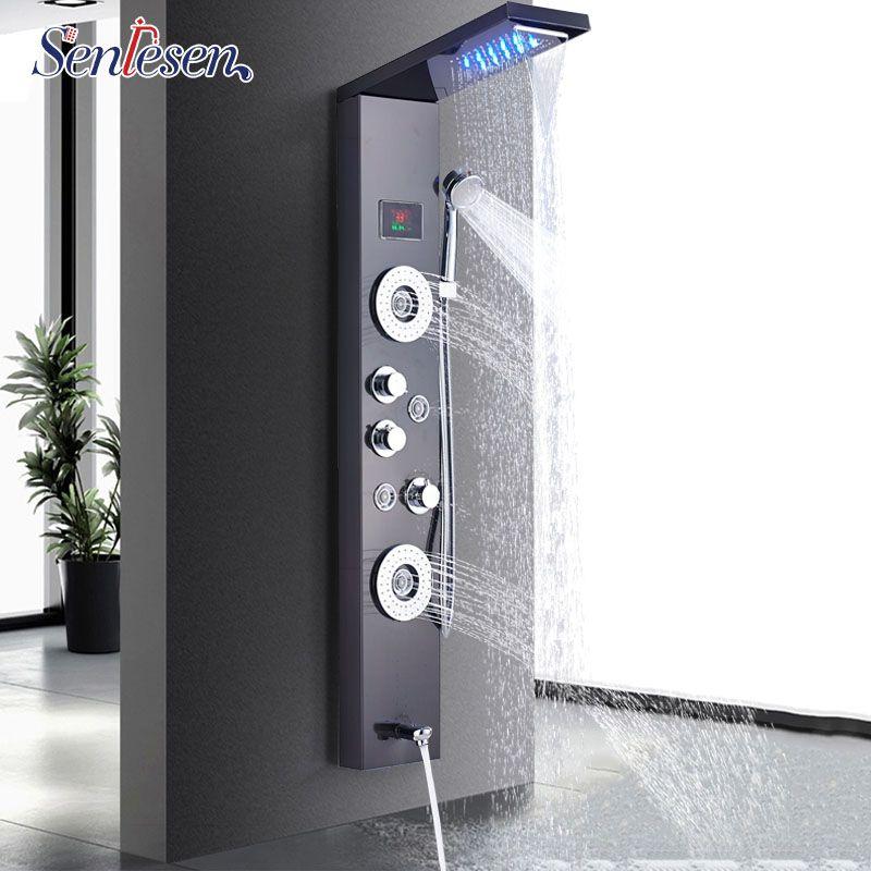 Senlesen Shower Column Panel Wall Mount W/ Massage Jets LED Shower Head Shower System Massage Jet Para Bathroom Shower Douche