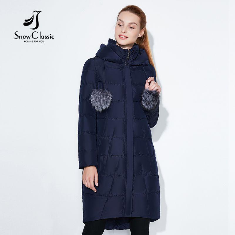 SnowClassic 2018 winter long jacket women warm coat fashion Preppy Style outwear solid thick jacket front edge fox fur collar