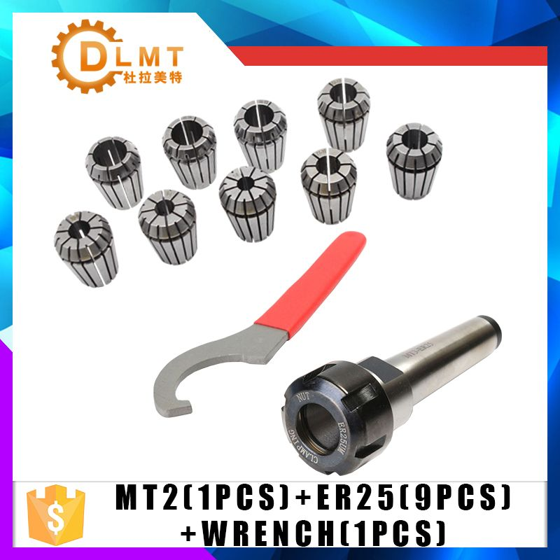 ER25 Spring Clamps 9PCS MT2 ER25 M12 1PCS ER25 Wrench 1PCS Collet Chuck Morse Holder Cone For CNC Milling Lathe tool