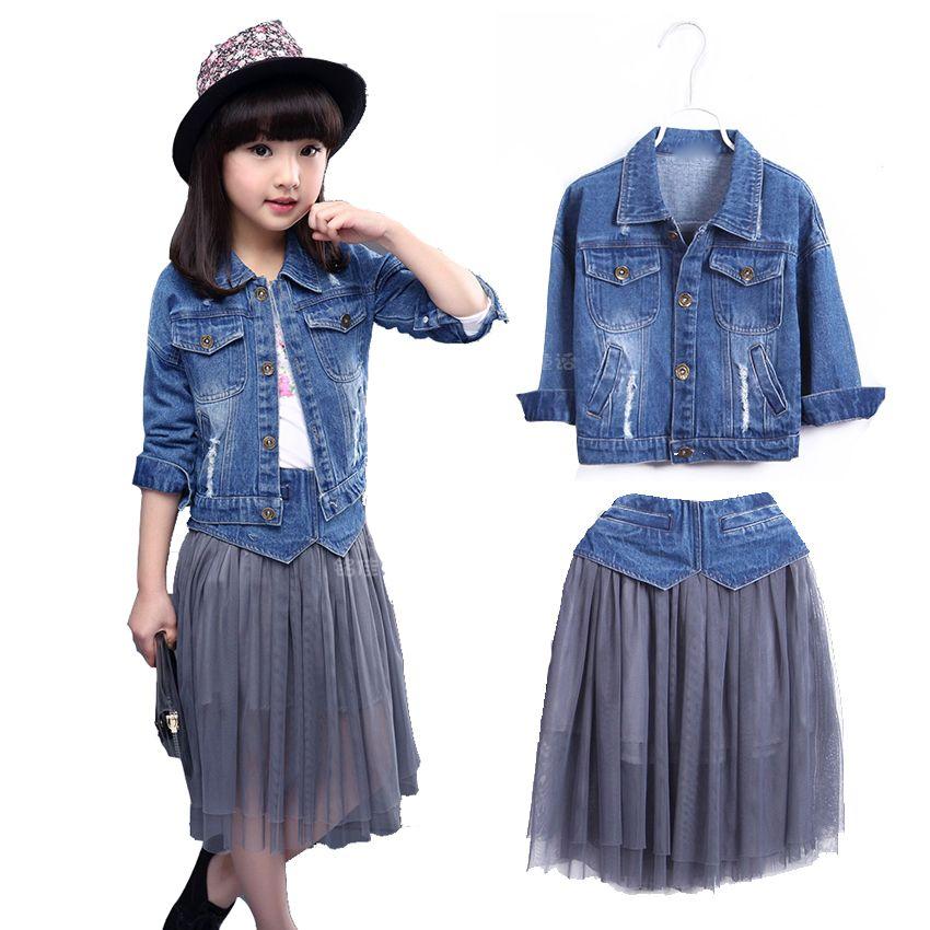 Children Clothing Sets Spring Cotton Girls Clothing Sets Fashion High Quality Denim Coat & Skirts 2Pcs Kids Clothing For Girls