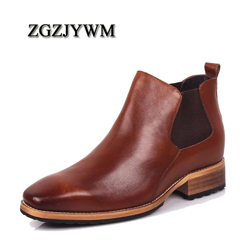 ZGZJYWM männer Unsichtbare 8 cm Aufzug Spitz Slip-On Echtem Leder Geschäfts Formal Der Trend Von Schwarz leder Schuhe