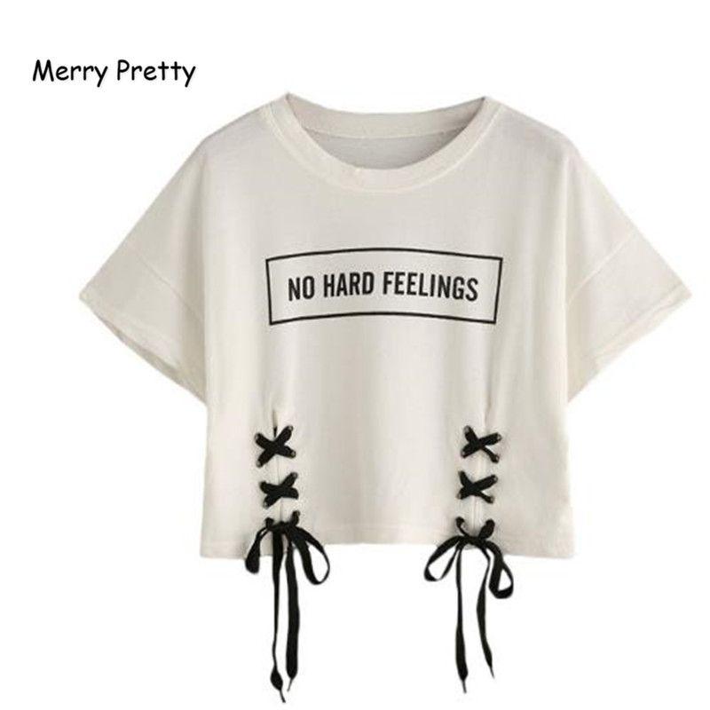 Joyeux joli nouveau été crop hauts femmes t-shirt lettre imprimé à manches courtes à lacets coton lâche sexy blanc t-shirt danse t-shirts hauts