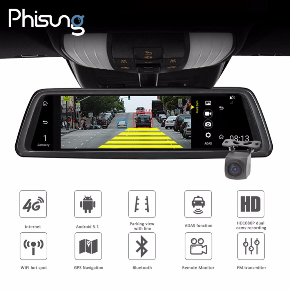 Phisung V9 10in Touch FHD 1080P Car DVR Camera DVRs Rear View Mirror Camera 4G WIFI Night Vision Android GPS Dual Lens Dash Cam