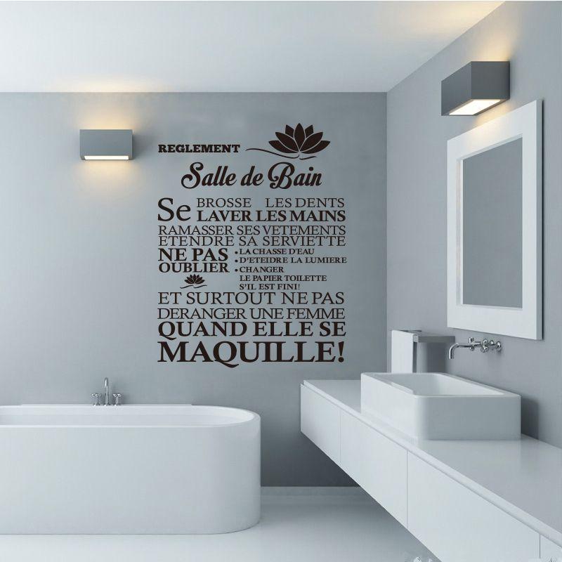 Français citation sticker mural mural salle de bains règle vinyle stickers muraux stickers muraux artiste décoration salle de bains décoration DW1041