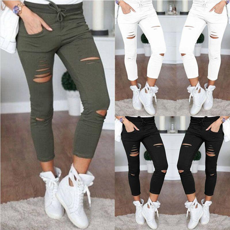 Mme S-4XL Nouveau Coton pantalons décontractés pantalon moulant Sauvage Européen et Américain Populaire Femmes de Jeans Leggings Trou