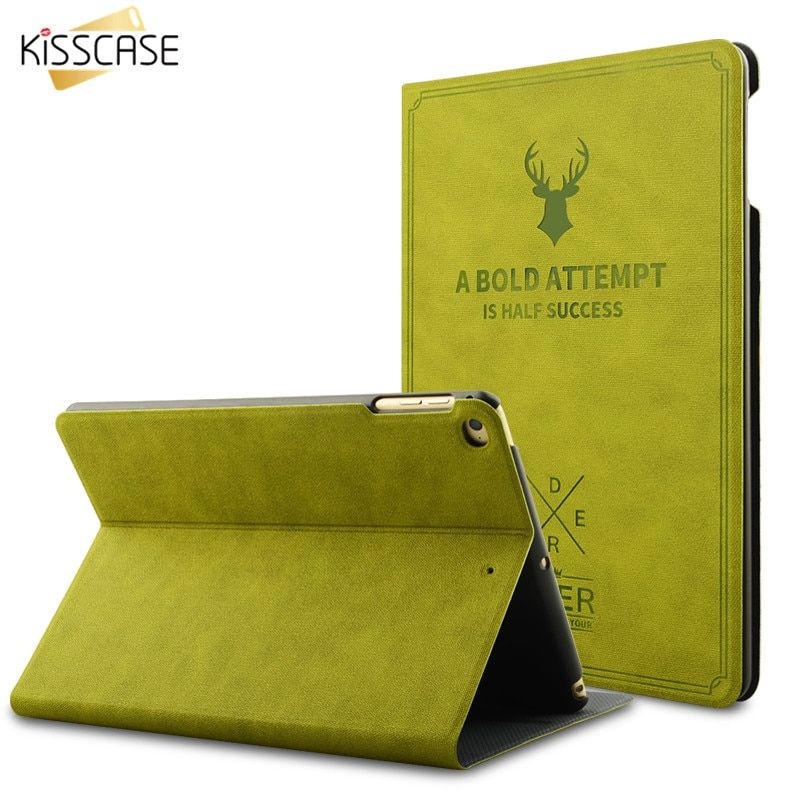 KISSCASE For iPad Mini 1 2 3 Case Leather Smart Awake Sleep Flip Cover Green Deer 3D Carving Back Shell For iPad Mini 3 2 Cases