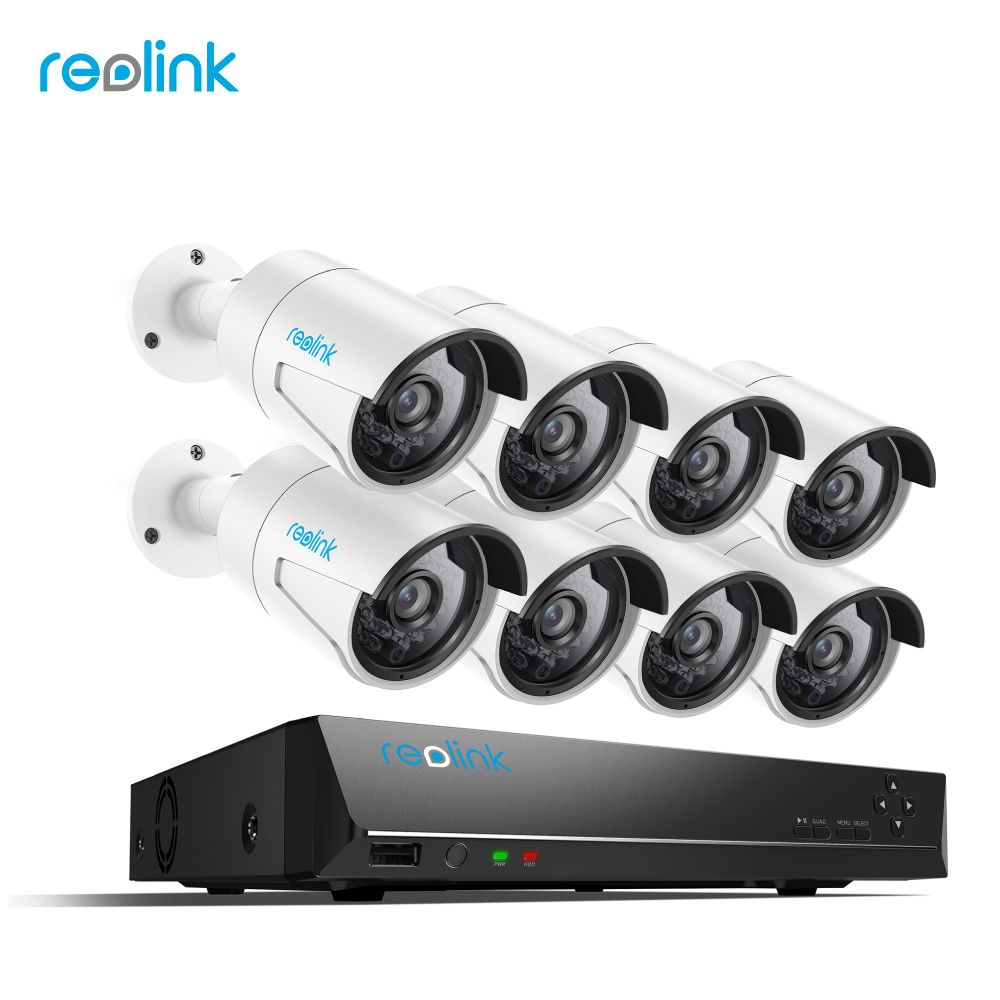 Reolink 4MP IP Security Camera system 16ch PoE NVR&8 PoE IP Outdoor Infrared Cameras 3TB HDD RLK16-410B8