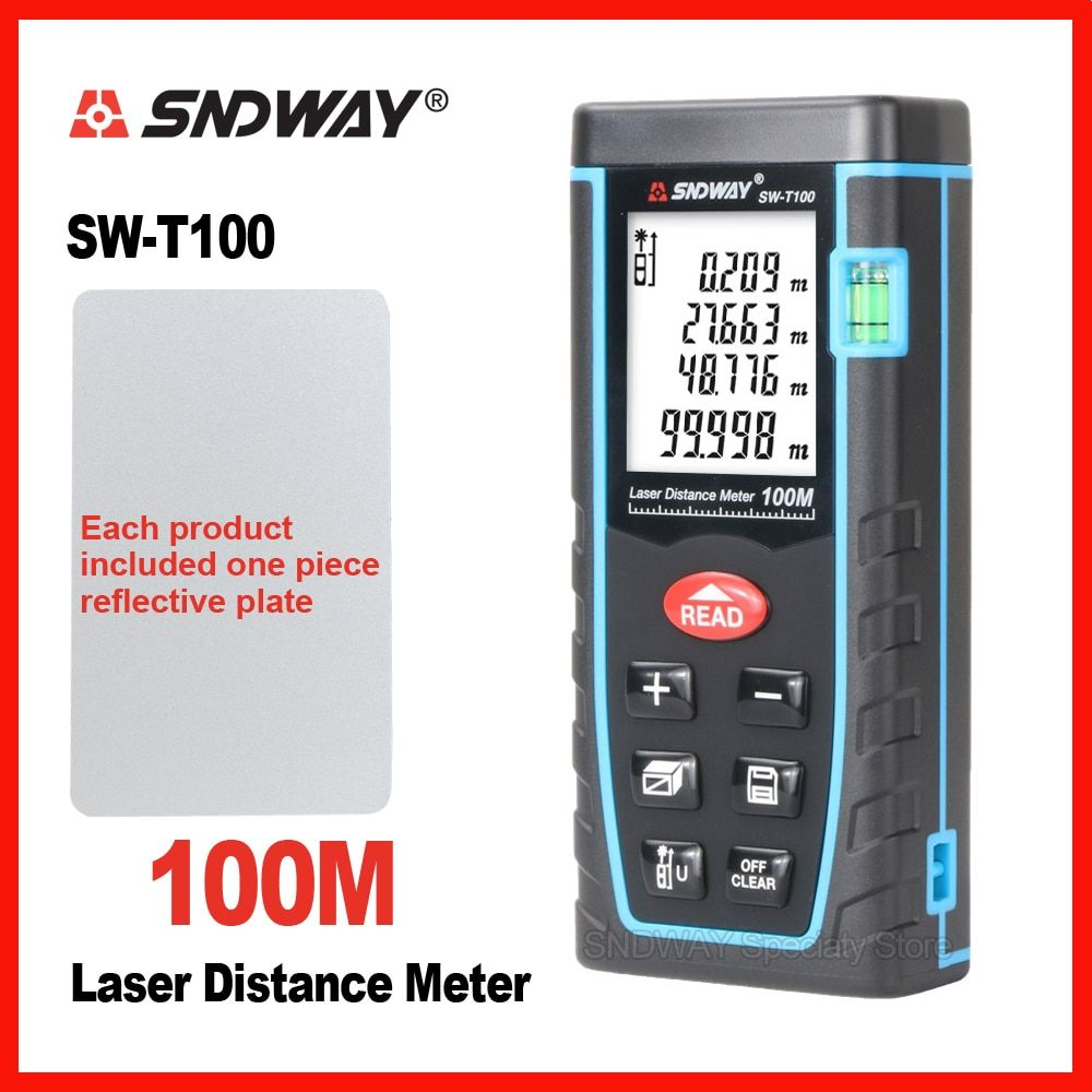 SNDWAY Laser Distance Meter Range Finder Rangefinder 40m 60m 80m 100m Electronic Tape Trena Ruler Tester Hand Tool Device Build