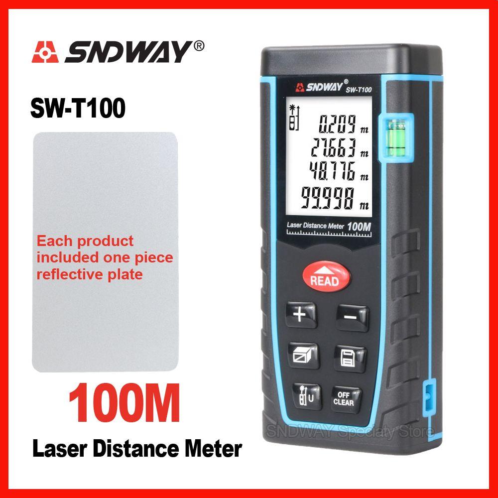 SNDWAY Laser Distance Meter Range Finder Rangefinder 40m 60m 80m 100m Electronic Tape <font><b>Trena</b></font> Ruler Tester Hand Tool Device Build